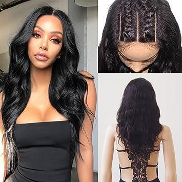 große Auswahl ausgereifte Technologien neueste Kollektion Lace Front Wig Human Hair Echthaar Perücke Brasilianische Haare  Naturschwarz #1B Body Wave mit Baby Hair für Frauen 40cm-160g