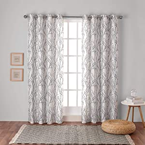 Exclusive Home Curtains Branches Linen Blend Window Curtain Panel Pair with Grommet Top, 54x96, Black Pearl, 2 Piece