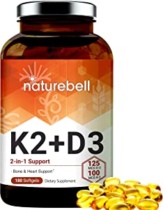 NatureBell Vitamin D3 + K2, 125mcg Vitamin D3 Plus 100mcg Vitamin K2 Per Serving, 180 Softgels, Supports Bone and Heart Health, No GMOs, Made in USA