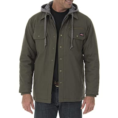 cb950843753 Image Unavailable. Image not available for. Color  Genuine Dickies Men s  Canvas Zipper Button Front Over-Shirt Jacket (Light ...