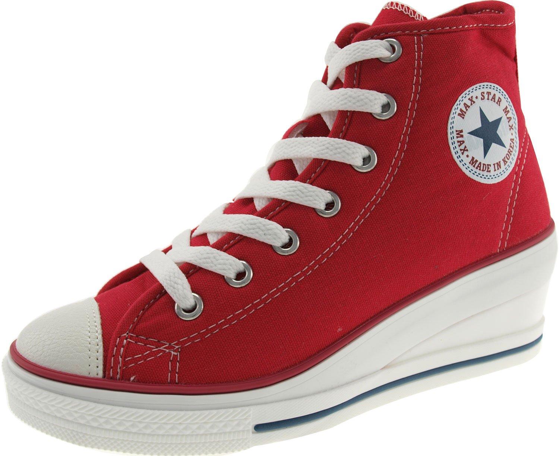 Maxstar Women's 7H Zipper Low Wedge Heel Sneakers B01G4MHHAI 7.5 B(M) US|Red