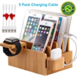 Bamboo Charging Station Organizer for Multiple Devices, Desktop Docking Stations Holder for Cell Phone, Tablet, iWatch, Airpod Charge Stand (Included Watch & Airpod Stand, 5 Cable. No USB Charger)