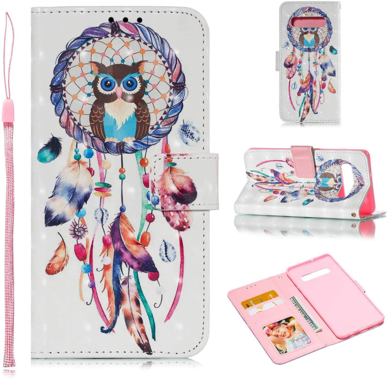 Dream Catcher DENDICO Cover Galaxy S10 Plus Ultra Sottile Flip Custodia PU Pelle Folio Libro Portafoglio con Tasca per Carte per Samsung Galaxy S10 Plus Blu