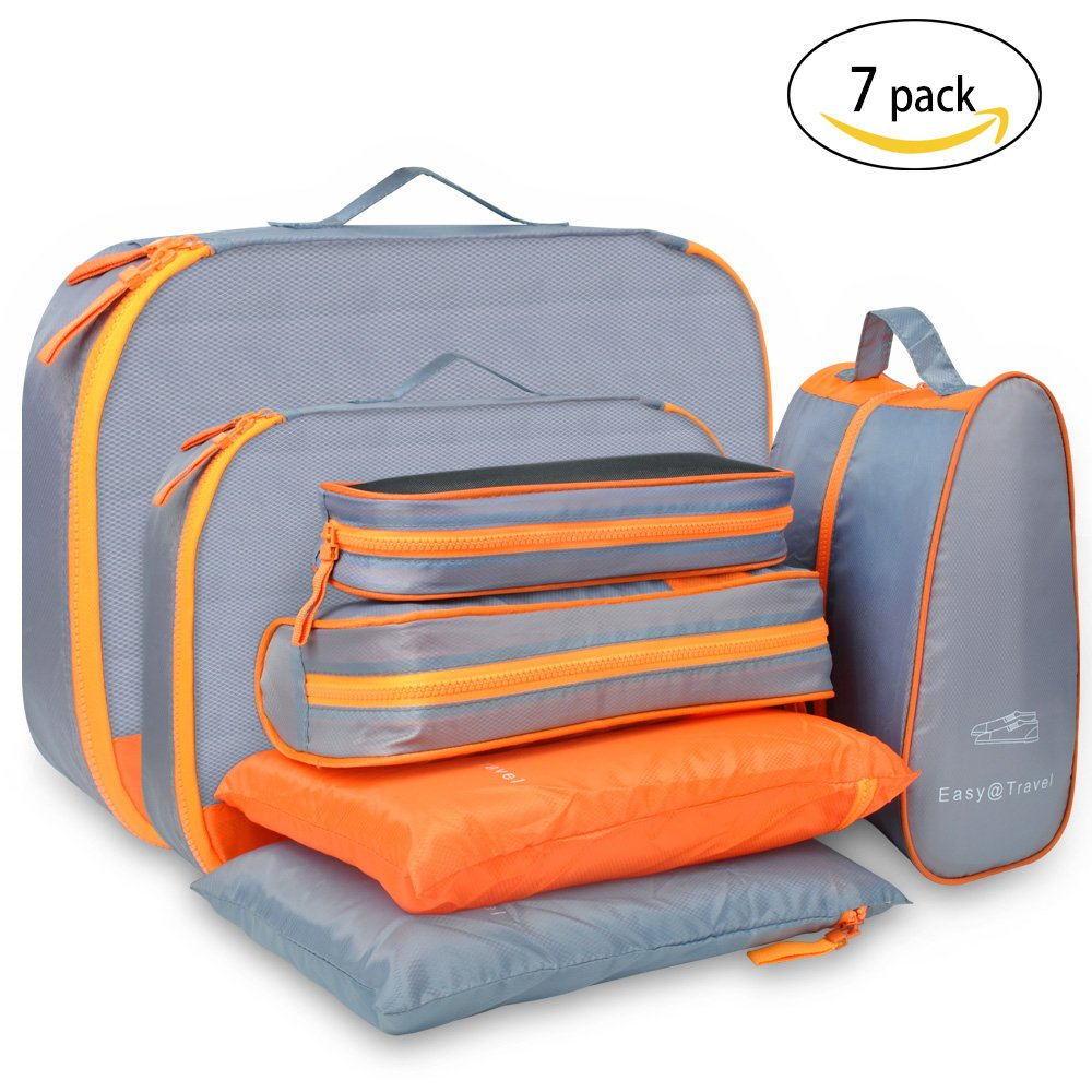 Travel Packing Cubes Luggage Organizer – Luxsure 7 pcs Waterproof Bags (Orange) by LUXSURE