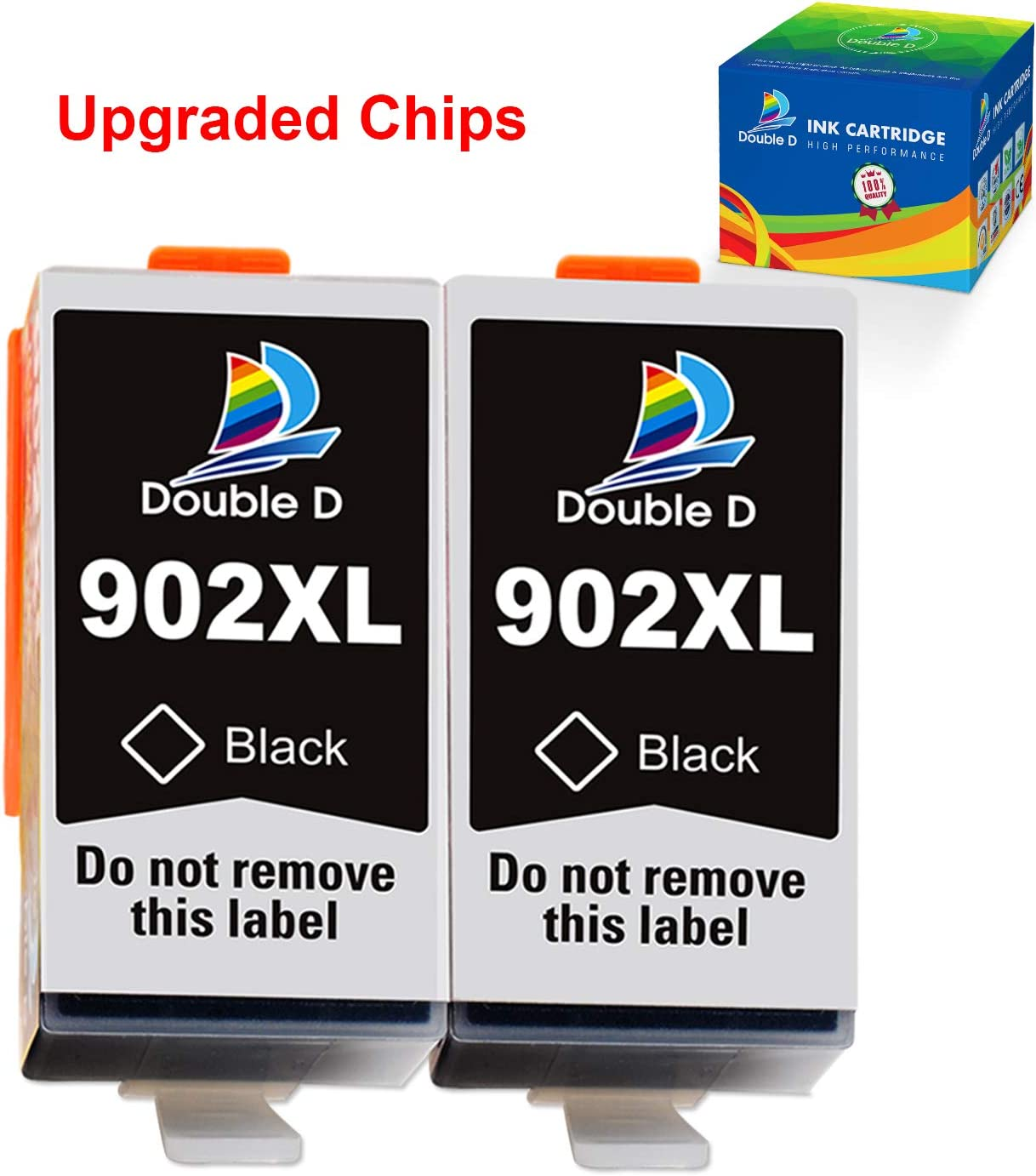 DOUBLE D 902 Ink Cartridge Compatible Replacement for HP 902 902XL Black (Upgrade Chip) for HP OfficeJet Pro 6978 6962 6968 6975 6960 6970 6950 6954 6979 6951 Printer (2Black)