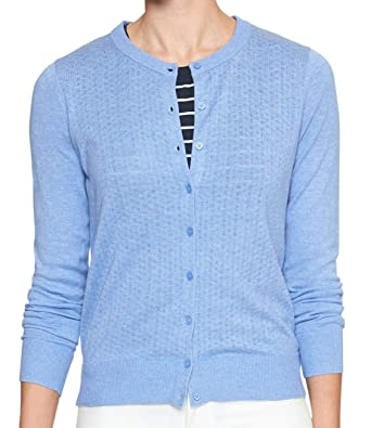 c4cf2d5f05c Banana Republic Womens 333674 Forever Pointelle Knit Front Cardigan Sweater  Heather Blue (Medium)