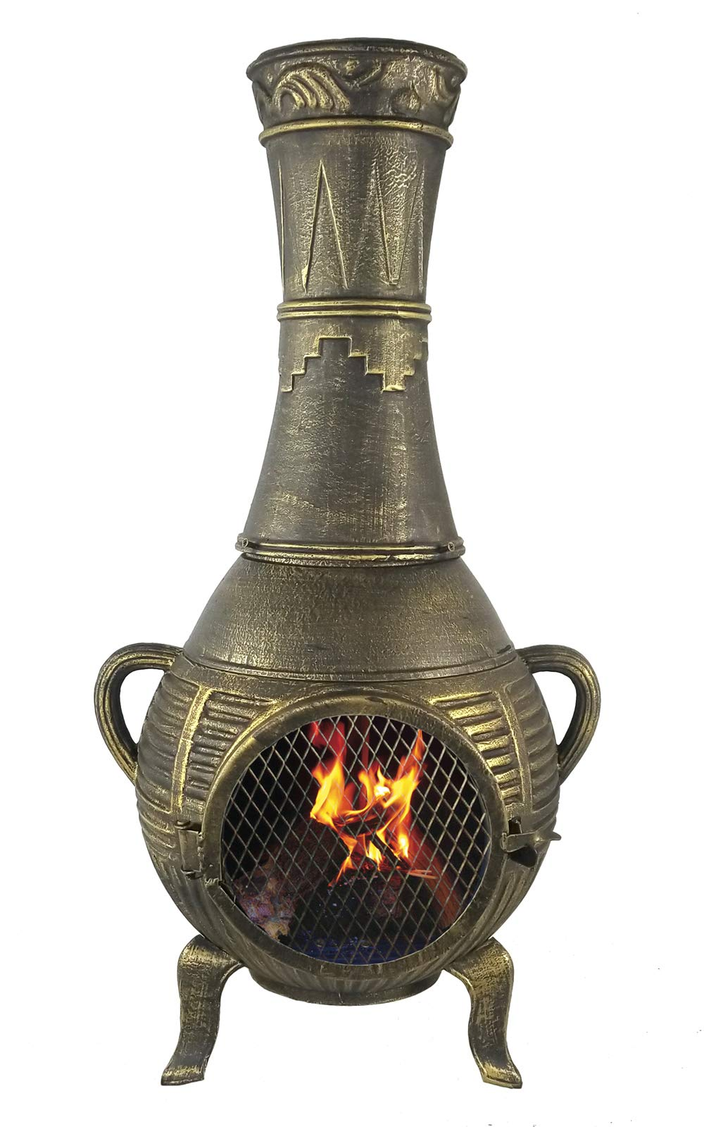 The Blue Rooster CAST Aluminum Pine Chiminea in Gold Accent by The Blue Rooster