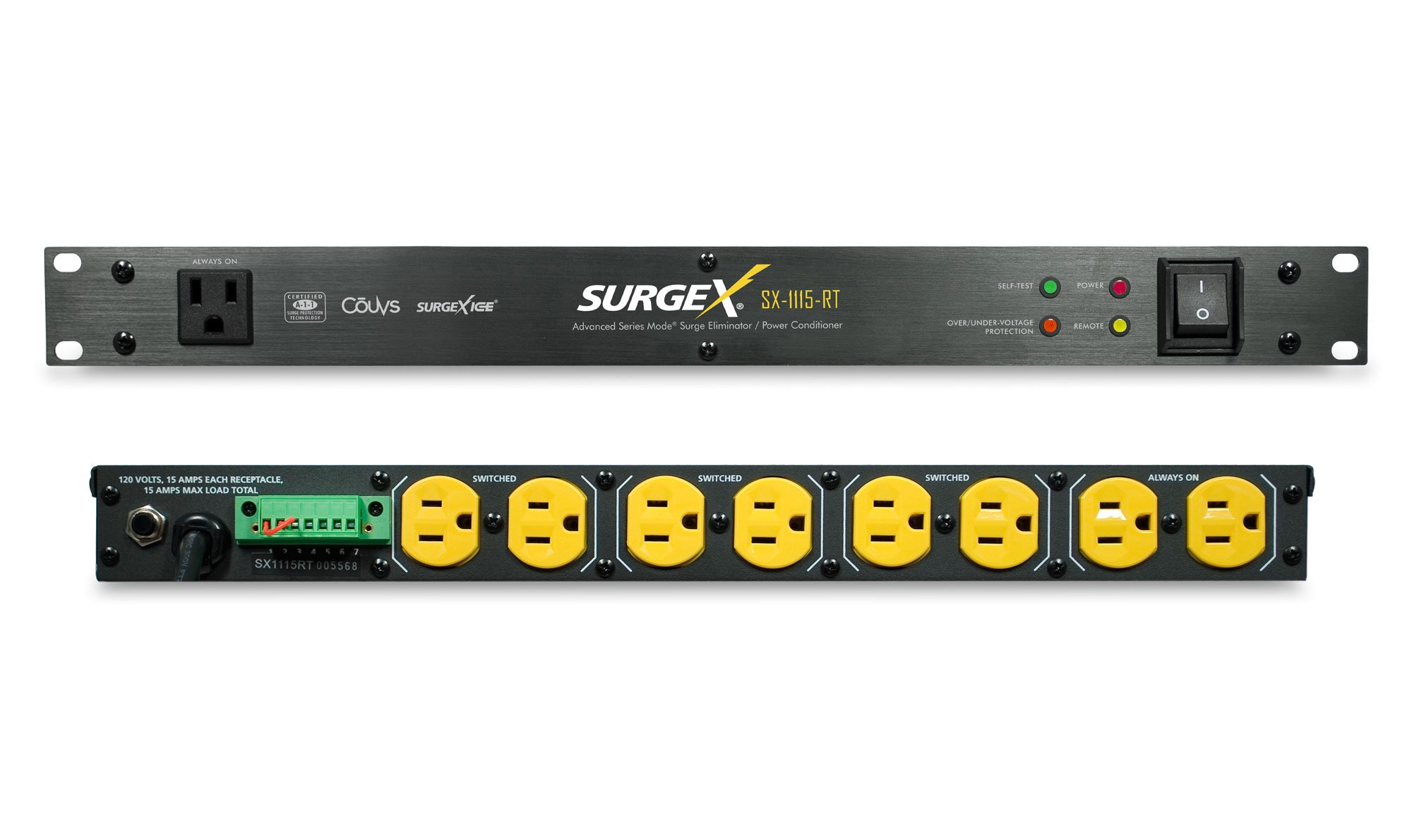 SurgeX SX-1115-RT TAA Rack Mount Surge Eliminator - Surge Protector/Power Conditioner for Audio, Video, Security & IT - 120 Volt/15 Amp, 1U, TAA Compliant