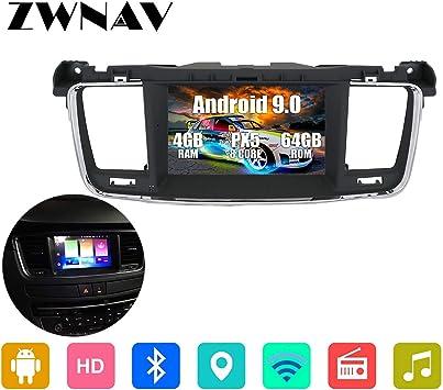 ZWNAV 7 Pulgadas Android 9.0 estéreo para Coche para Peugeot 508 2011-2017, navegación GPS, Reproductor de DVD, Pantalla táctil IPS, WiFi, Bluetooth, Receptor Am/FM, Control de Volante: Amazon.es: Electrónica