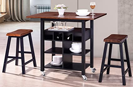 Harperu0026Bright Designs WF038521BAA Dining 3 Piece Set With Storage Shelves,  Folding Table Top And