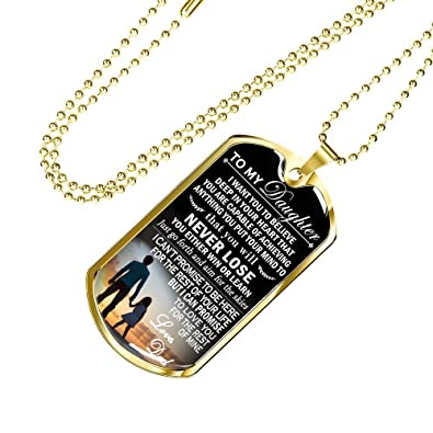 30d86074996 To My Daughter Dog Tag Custom Love Dad - Never Lose Necklace Pendant Chains  - Father