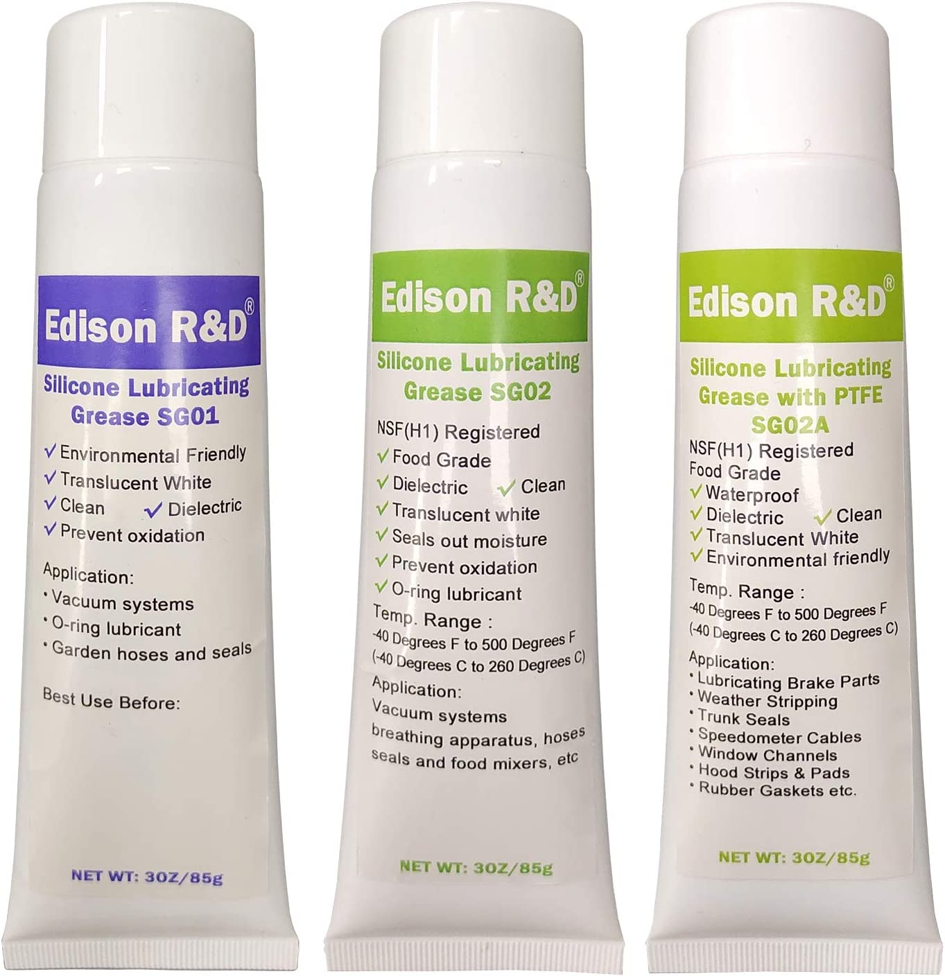 Edison R&D Best Selected Silicon Grease Three Formula SG01 Standard, SG02, SG02A Food Grade with PTFE Mulit Function Lubricant, Faucet O-ring Lubricant Water Proof, Dielectric, Oil Resistant3/Pack