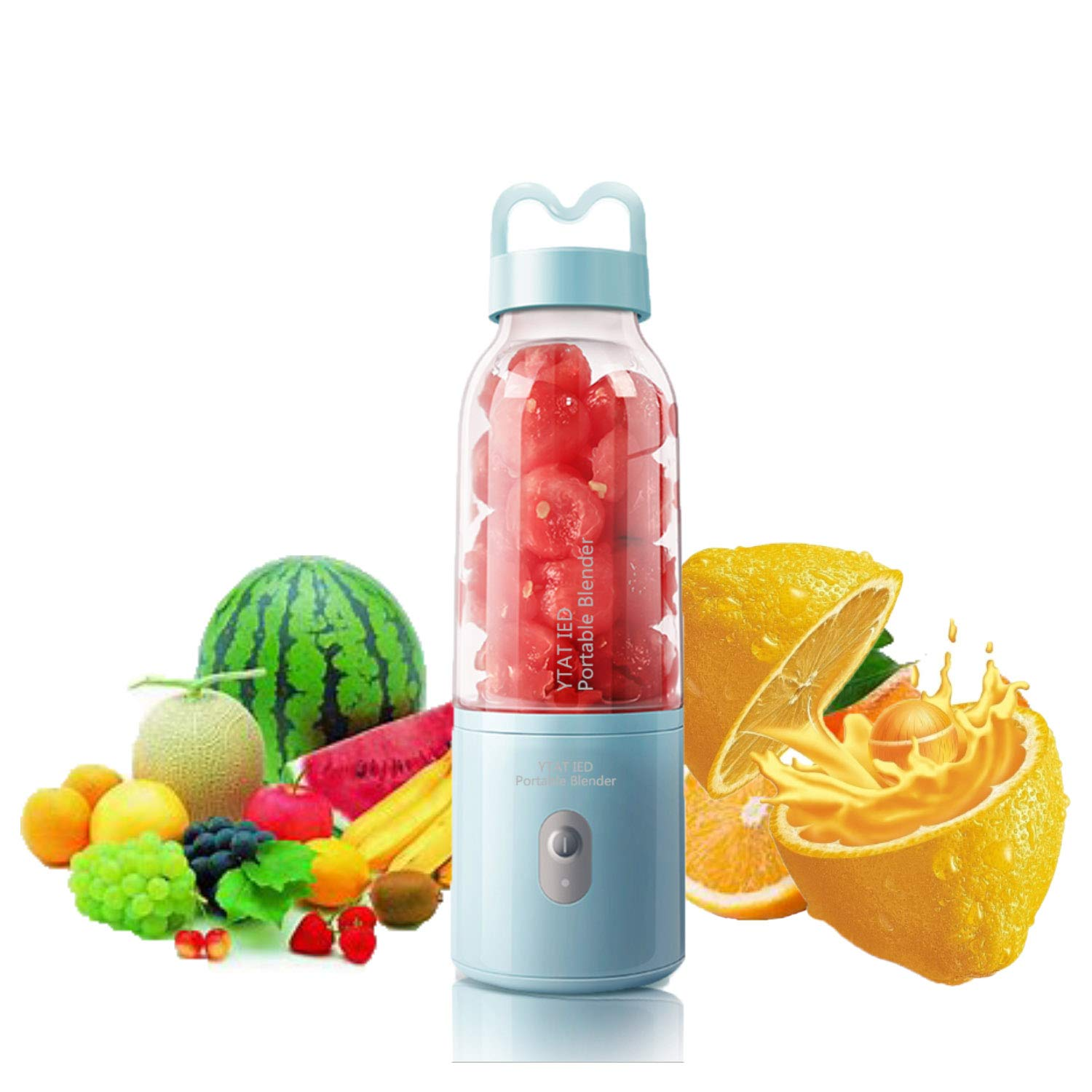 【2019 Upgraded Version】Portable Blender YTAT Mini Smoothie Blender USB Personal Blender 500ml Juicer Cup Fruit Mixer with 4000mAh Rechargeable Battery, BPA Free (blue) by YTAT IED