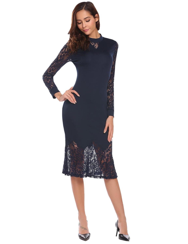 Chigant Damen Knielang Spitzenkleid Langarm Meerjungfrau Etuikleid Figurbetontes Kleid Cocktailkleid Partykleid