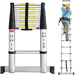 Todeco 3,8m Escalera Telescópicaescalera Plegable, Escaleras de Aluminio con Barra Estabilizadora, 13 Peldaños Escaleras Escamoteables Carga Máxima 150 kg: Amazon.es: Bricolaje y herramientas