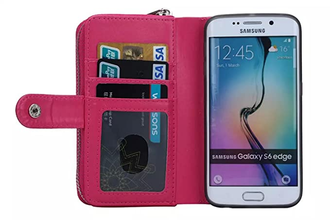 36e081fe2b1 Image Unavailable. Image not available for. Color  Samsung Galaxy S6 edge  case Premium Leather ...