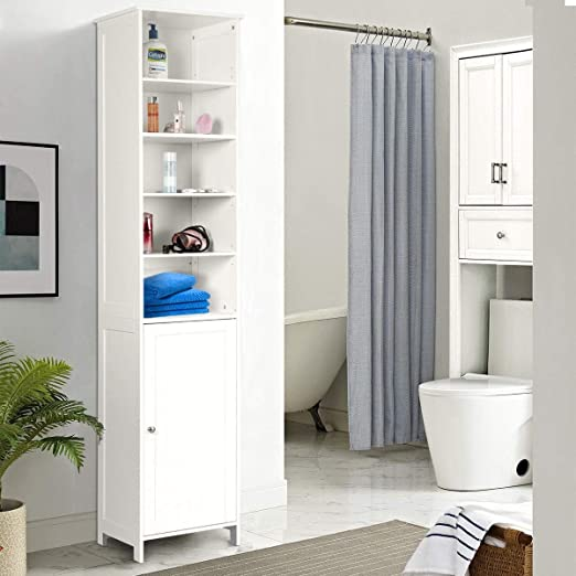White 72 Height Tangkula Tall Cabinet Bathroom Free Standing Tower Cabinet with Adjustable Shelves /& Cupboard with Door Space Saving Cabinet Organizer Home Storage Furniture