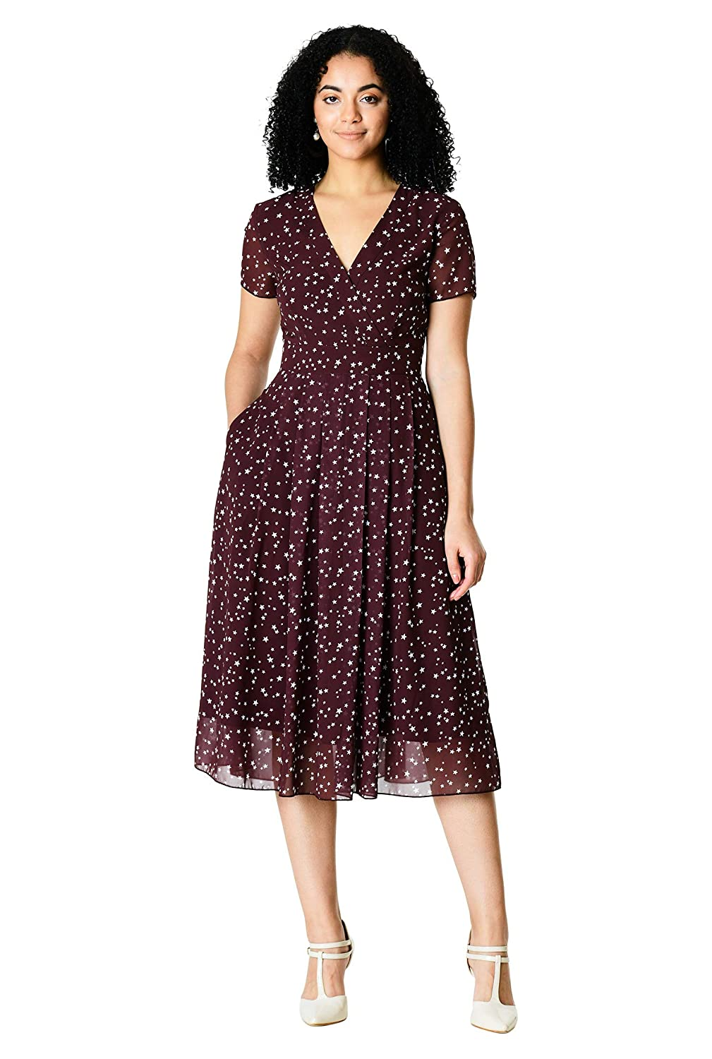1940s Plus Size Fashion: Style Advice from 1940s to Today eShakti Womens Surplice Star Print Georgette Dress $74.95 AT vintagedancer.com