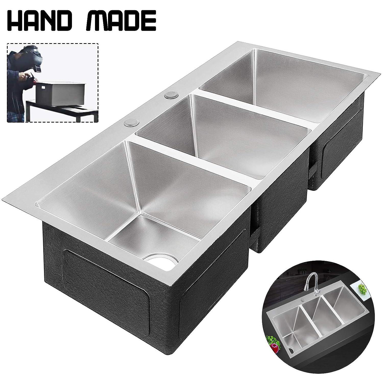 VEVOR Triple Bowl Kitchen Sink 37inch Undermount Stainless Steel Sink Hand made sink 3 Bowl Square for Kitchen