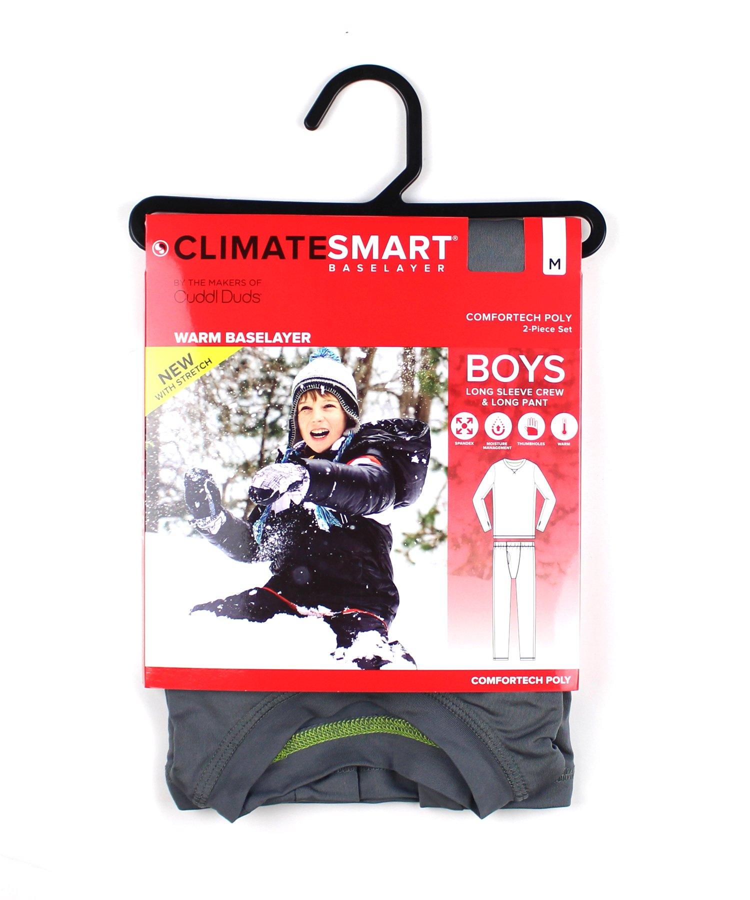 Cuddl Duds Boys Climatesmart Base Layer Thermal Comfortech Set (XS 4/5, Grey) by Cuddl Duds Komar