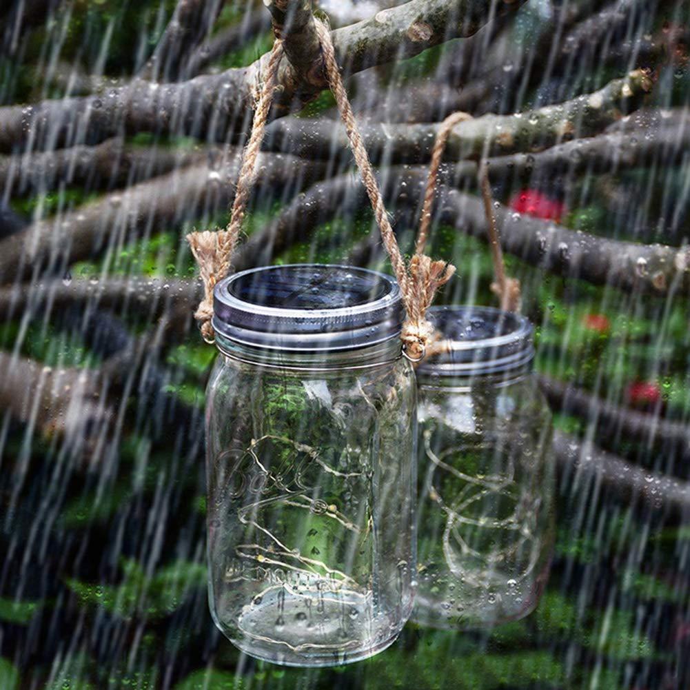 Solar Mason Jar Lid Lights LED String Lights Modes Outdoor Solar Fairy Lighting Waterproof Decorative Lights for Patio/Parties (2 Pack)