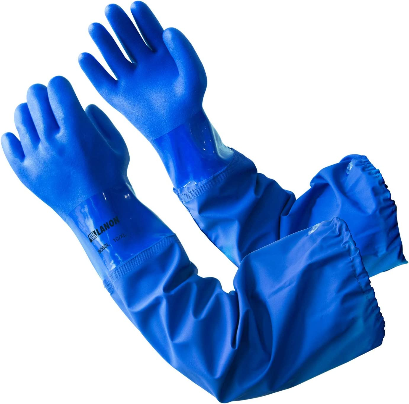 LANON 26 Inch Reusable Oil Resistant Work Gloves for Fishing, Elbow Length Chemical Resistant Glove, Non-slip, Latex Free, Textured, CAT III, Extra Large