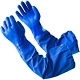 LANON PVC Coated Chemical Resistant Gloves, 26 Inch Reusable Safety Work Gloves Oil Resistant, Elbow Length, Non-Slip, X Large