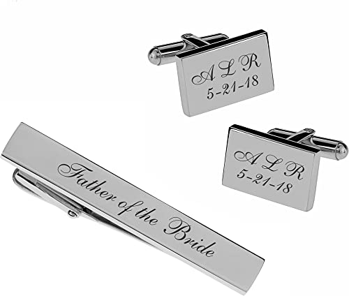 Personalized Hand Stamped Tie Clip Custom Initials Tie Bar Set of Three