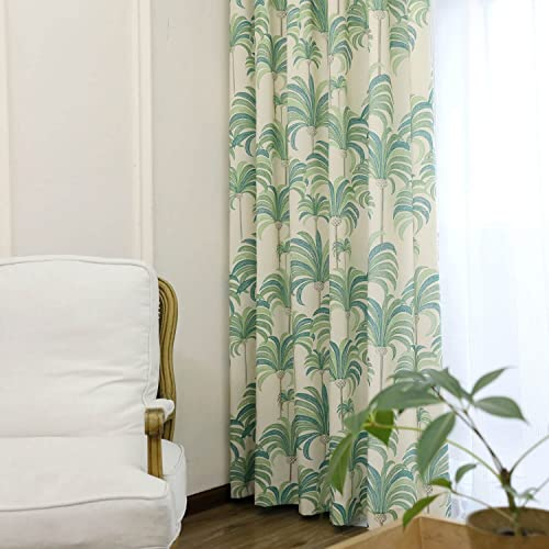 VOGOL Hood Leaves Printed Curtains, Thermal Insulated Noise Reduction Curtain Drapes Panels for Bedroom Hotel Living Room, 2 Panels, W60 x L106 inch, Green