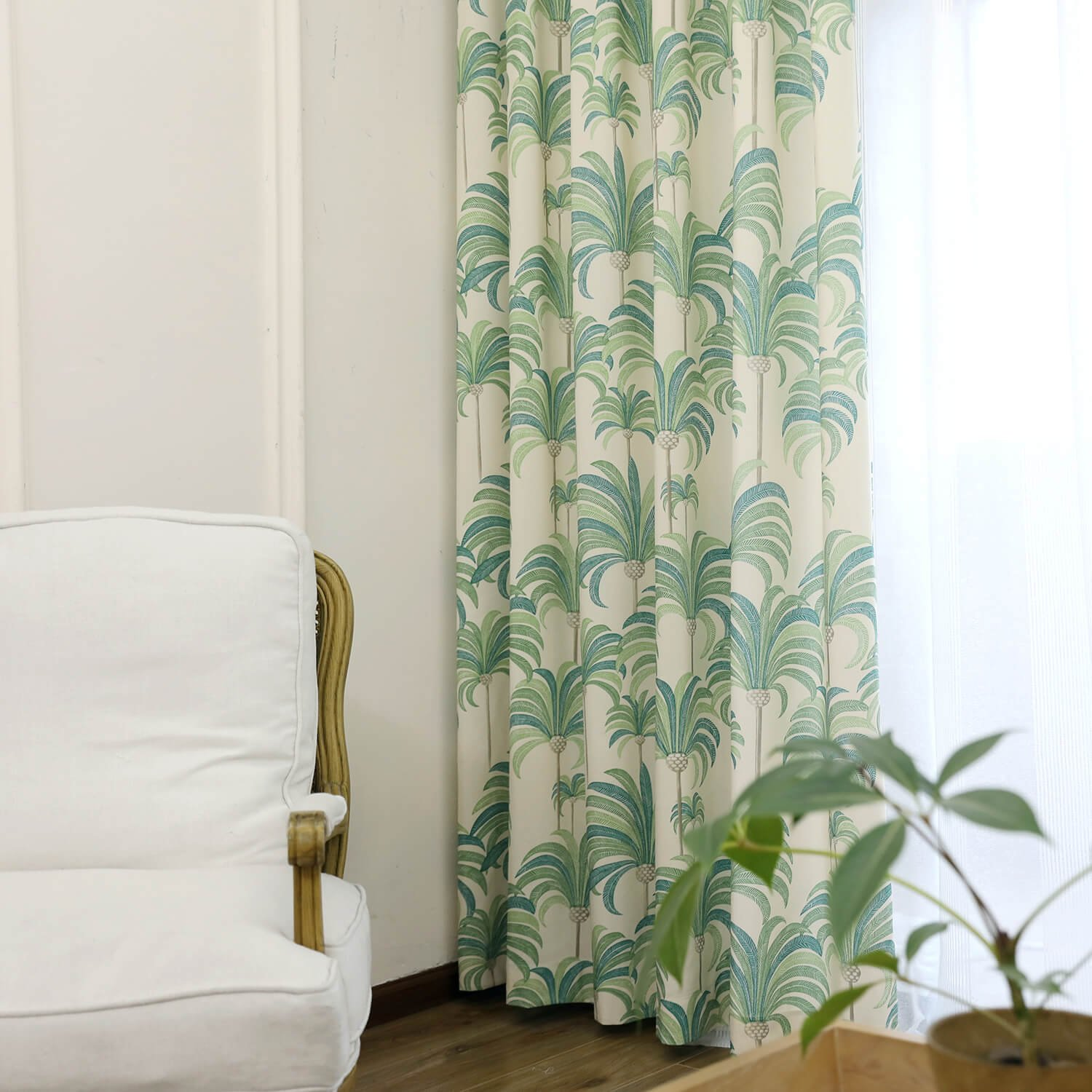 VOGOL Grommet Curtains, Hood Leaves Printed Window Panels Restaurant Curtain Drapes for Bedroom Hotel Living Room, 2 Panels, W52 x L84 inch, Green