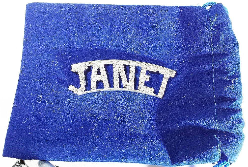 Detti Originals Personalized Rhinestone JANET name pin