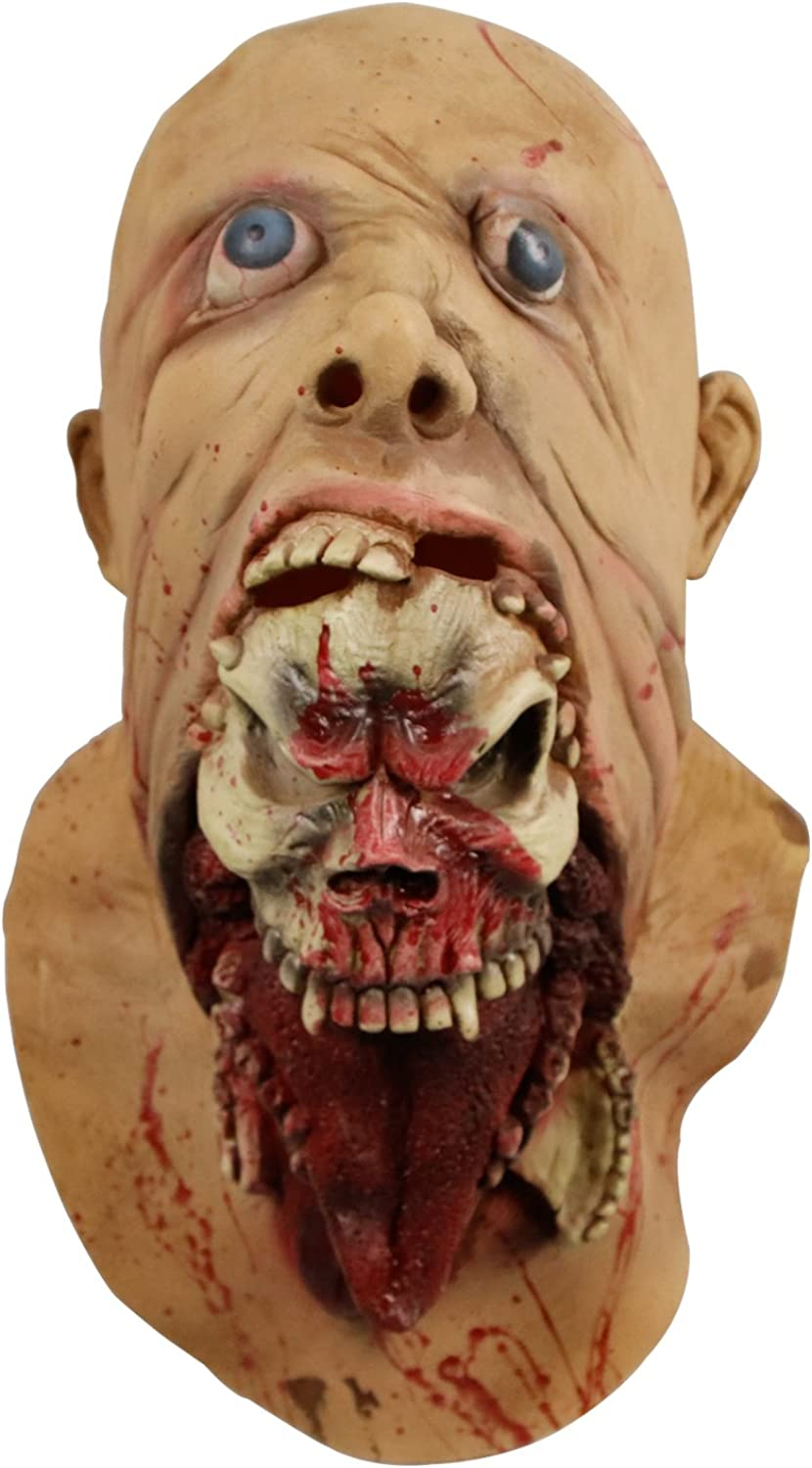 molezu Blurp Charlie Mask, Gruesome Parasite Mask, Scary Ghoulish Latex Mask for Halloween