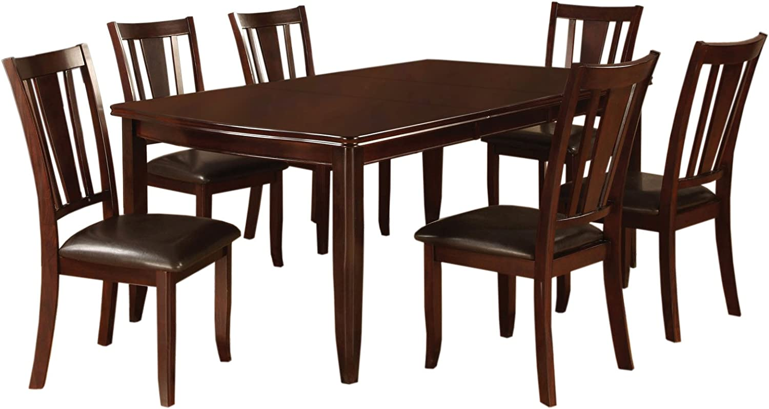 Furniture of America Anlow 7-Piece Dining Table Set with 18-Inch Expandable Leaf, Espresso