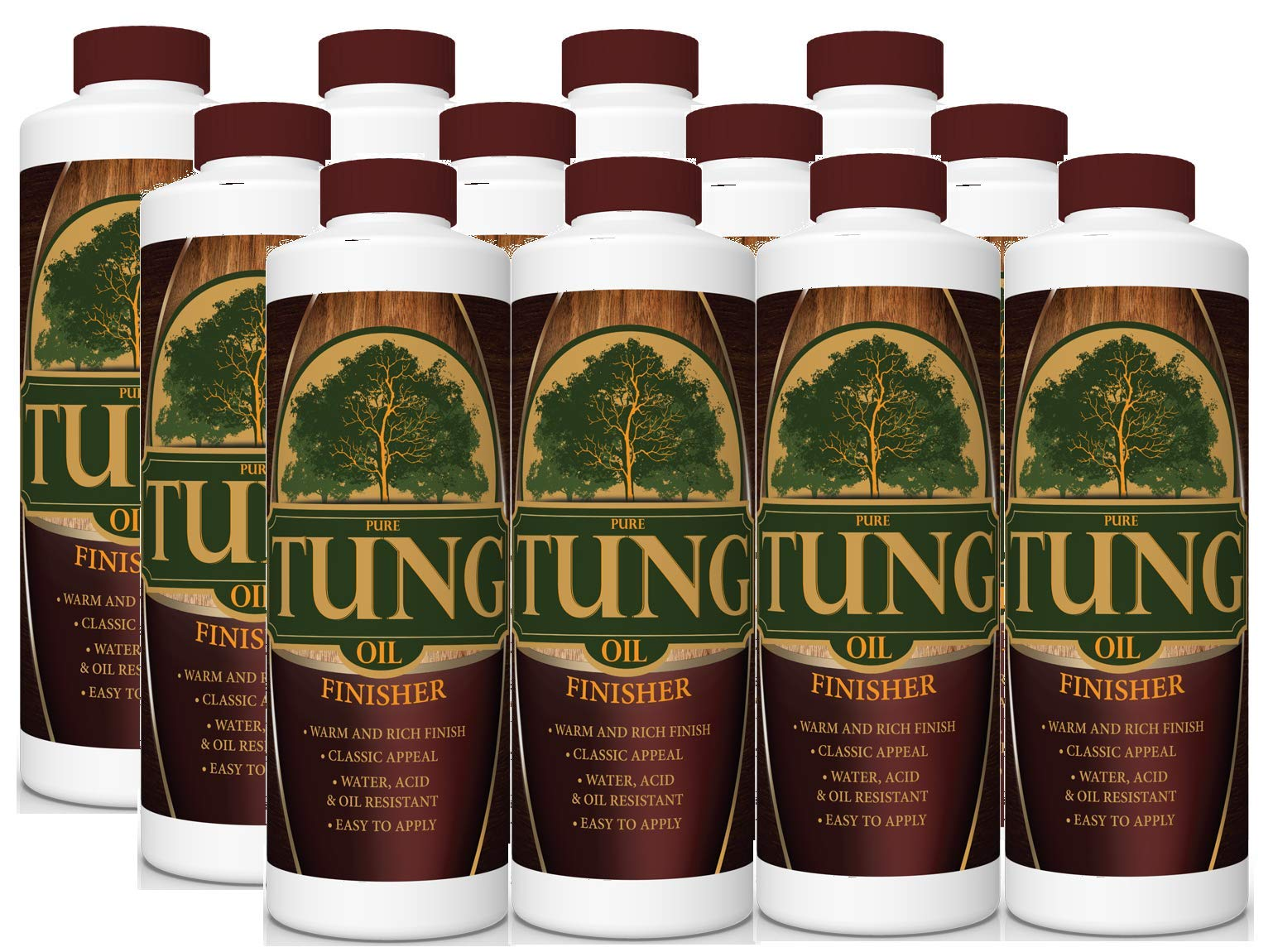 100% Pure Tung Oil Finish Wood Stain & Natural Sealer for All Types of Wood (12 x 32 oz Case)