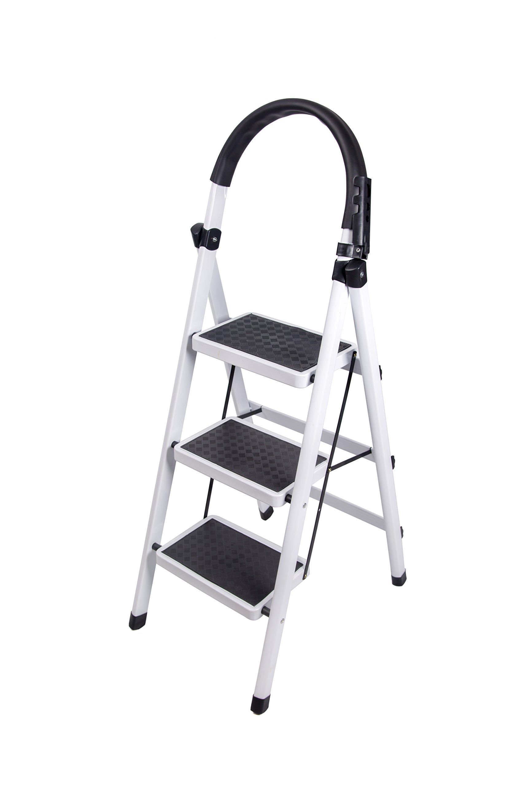 Gimify 3 Step Ladder Household Folding Steel Frame Stool Platform Ladder Anti-Slip Portable White (3 Step)