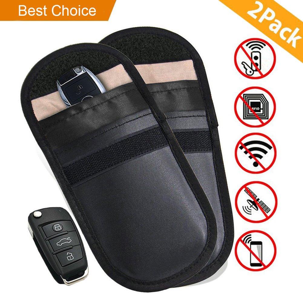 Carloo 2 Stü ck Amteker Strahlenschutz Tasche fü r Keyless Schlü ssel, RFID Schutztasche Autoschlü sseletui, Faradaysche Tasche, Wifi/GSM/LTE/NFC Blocker (2 Stü ck, Schwarz)