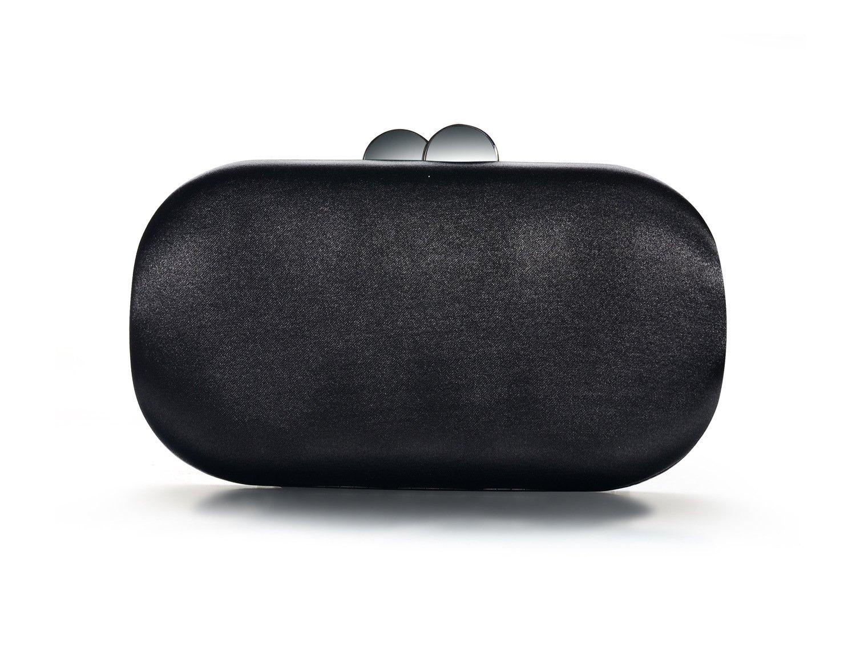 DMIX Womens Satin Silk Hard Case Box Clutch Evening Bags and Clutches Black