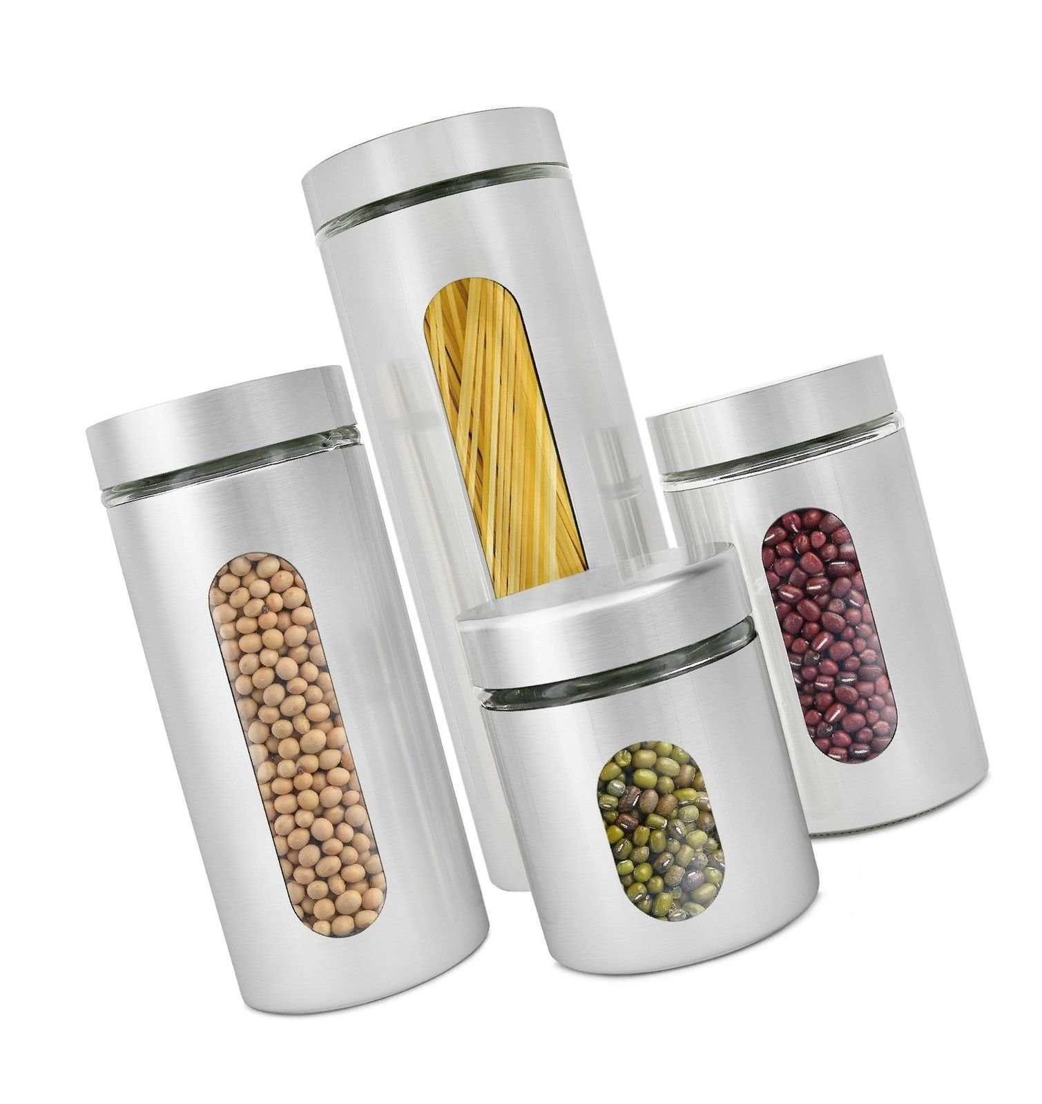 Tari_Kitchen Estilo 4 Piece Brushed Stainless Steel and Glass Canisters with Window Silver by Tari_Kitchen