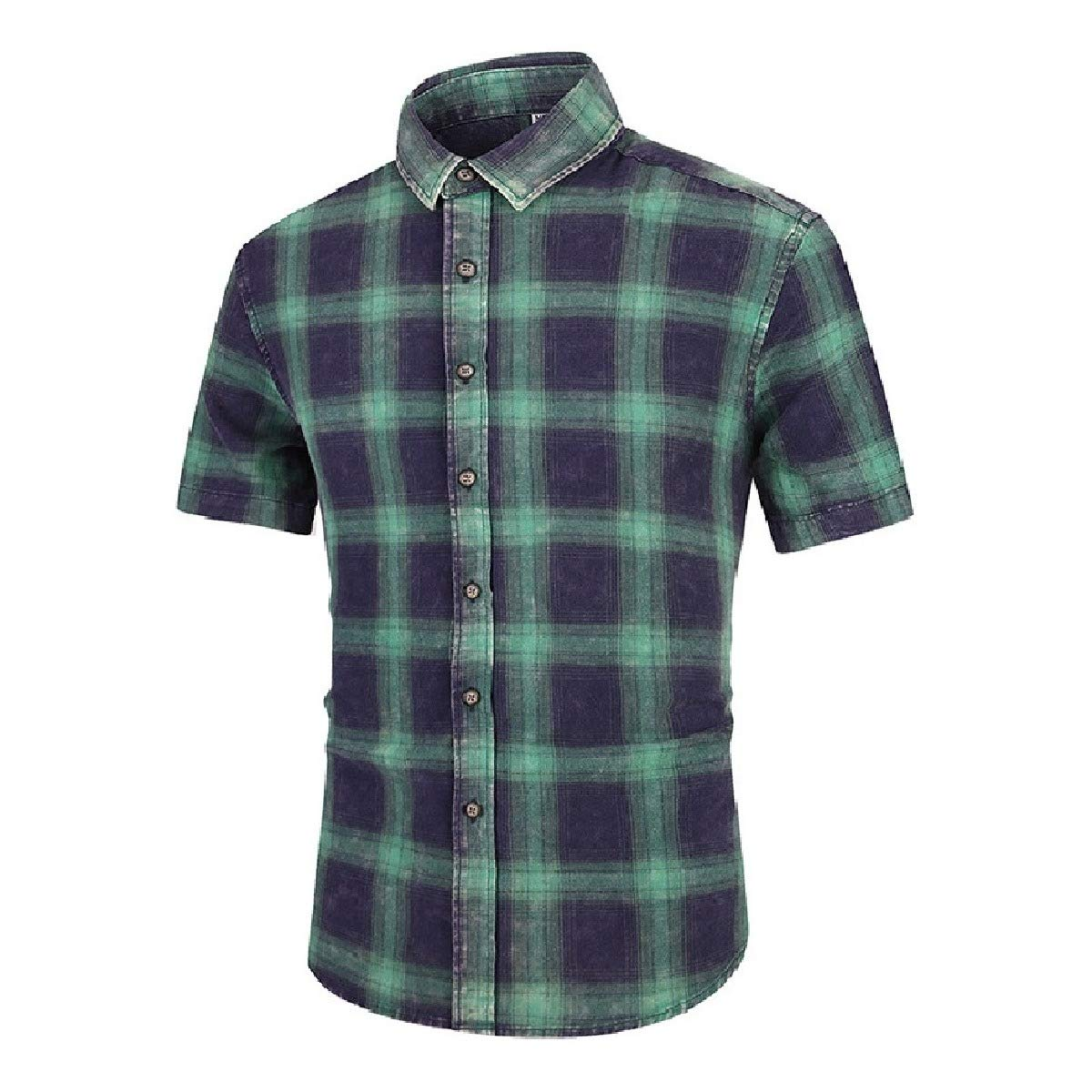 Sebaby Mens Short Sleeve Summer Plaid Basic Cotton Casual Leisure Work Shirt