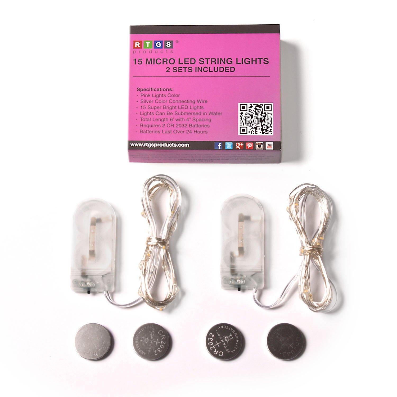 Amazon.com: RTGS 2 Sets 15 Pink Color LED String Lights Batteries ...