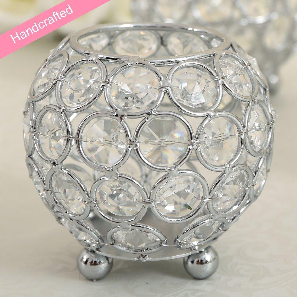 Home Decorative Votive Tea Light Candle Holder CraftVatika Silver Crystal Bowl Candleholder