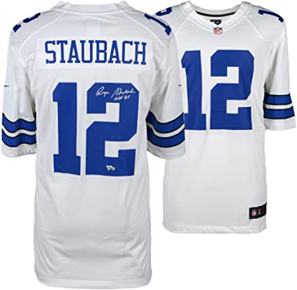 Roger Staubach Dallas Cowboys Autographed White Nike Legends Replica Jersey  with quot HOF 85 quot  Inscription b8f05372c