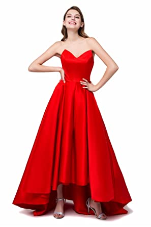 H&S Bridal Red V Neck High Low Prom Dress Satin Lace Up Prom Evening Dresses (