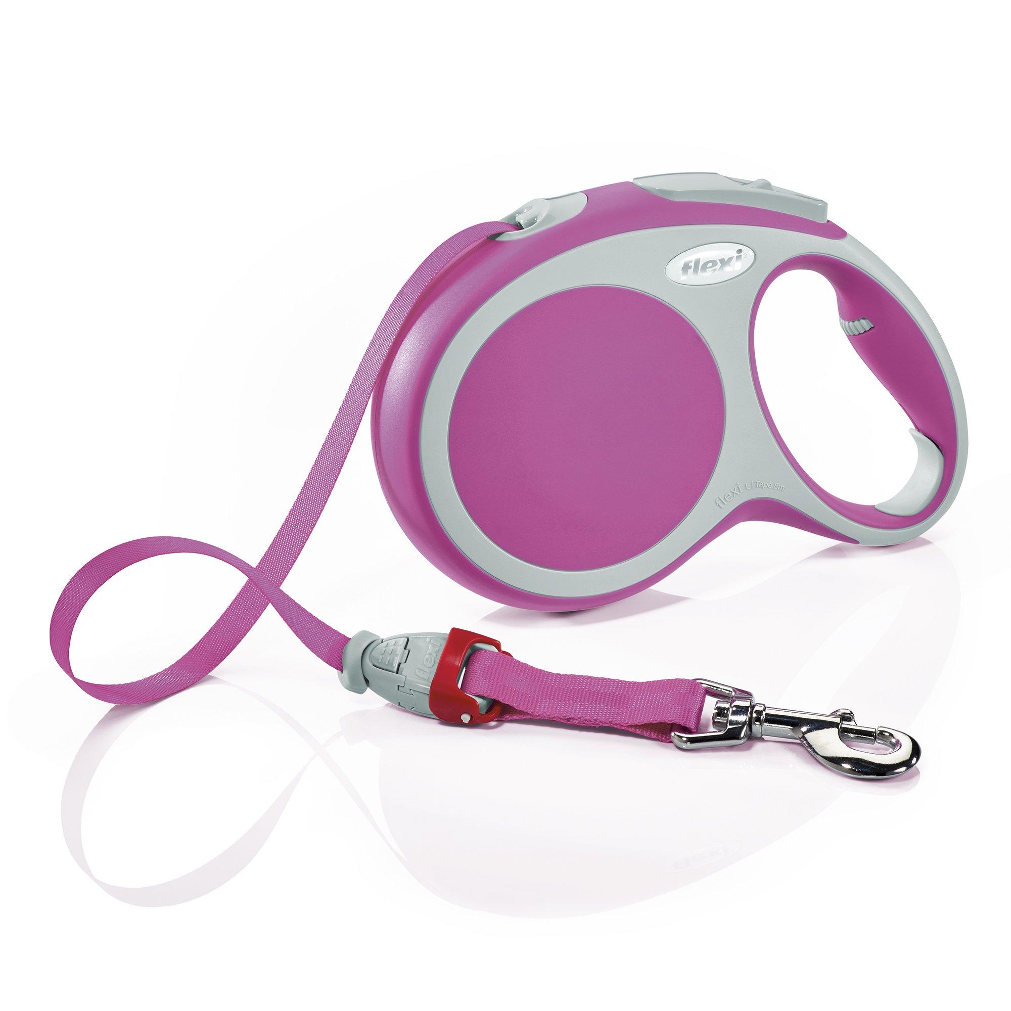 Flexi Vario Retractable Dog Leash (Tape), 26 ft, Large, Pink