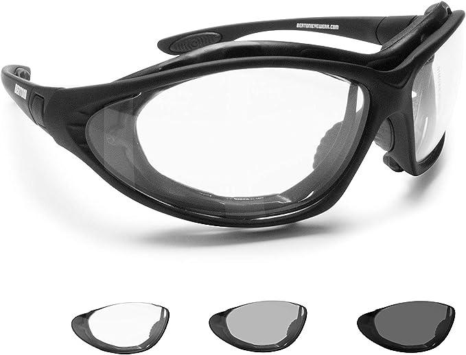 Bertoni Photochrome Motorradbrille Schutzbrille Selbsttönende Antibeschlag Uv Schutz Mit Austauschbare Bügel Oder Kopfband F333a Automatische Scheibentönung Kat 0 Bis 3 Auto