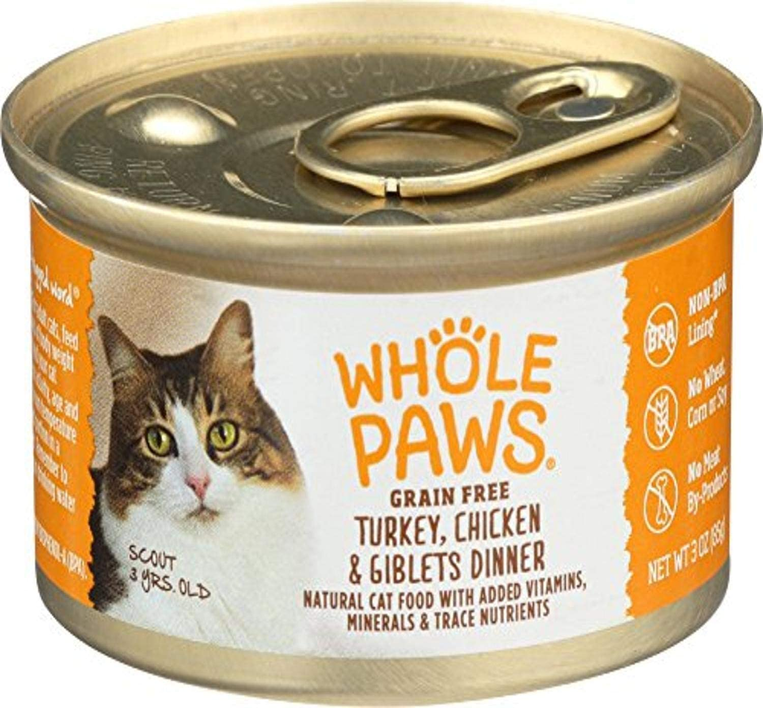 Whole Paws, Grain Free Cat Food, Turkey, Chicken & Giblets Dinner, 3 oz
