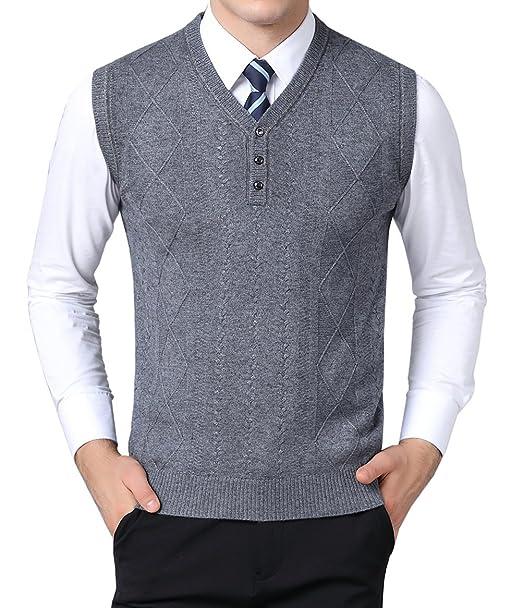 bcf0201a0d128 MYMYU Hommes Hiver Chaud V-Cou Bouton Gilet sans Manches Classique Affaires  Gentleman Tricots Gilet