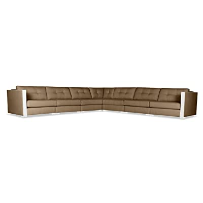 South Cone Home Greenwhich Buttoned Modular Sectional Right And Left Arms L-Shape King, Brown