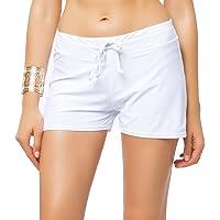 FITTOO Pantalón Corto Shorts clásicas Pantalones Deportivos Mujer Braguitas Bikini Alta Elasticidad Color Sólido Talla Grande Colores Varias Playa 870