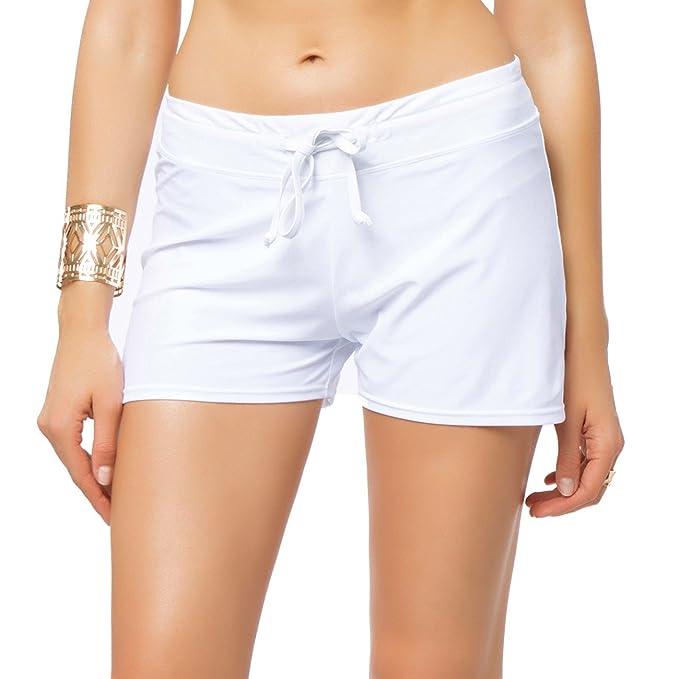 FITTOO Pantalón Corto Shorts clásicas Pantalones Deportivos Mujer Braguitas Bikini Alta Elasticidad Color Sólido Talla Grande